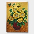 植木鉢に刺さっているひまわりの花を描いた風水絵