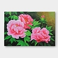 ピンク色のリビングに飾る牡丹の花の絵