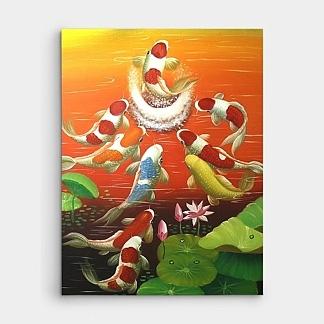鯉の滝登りの絵-9匹