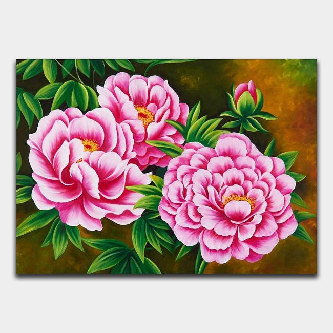 牡丹の絵-絵画-ピンク色