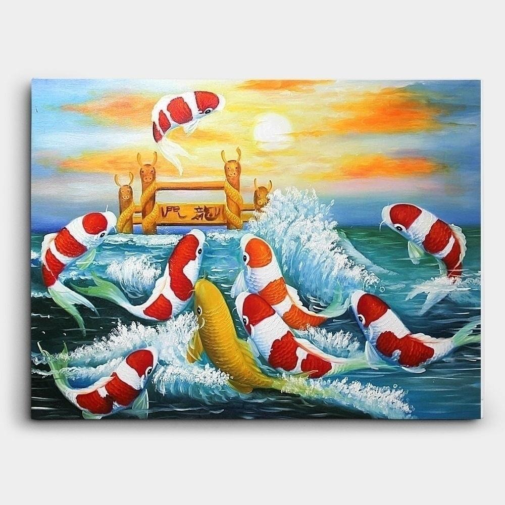 鯉の滝登り-絵-絵画